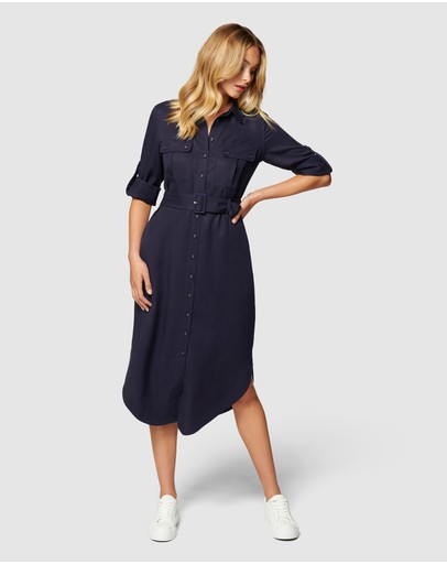 Forever New - Gina Long Sleeve Belted Shirt Dress