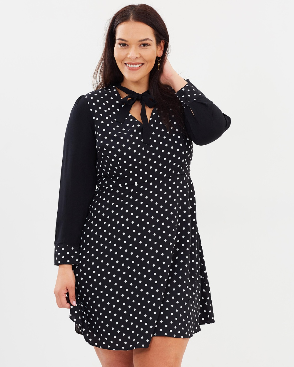 Atmos & Here Curvy ICONIC EXCLUSIVE Marika Shirt Dress Printed Dresses Polka Dot ICONIC EXCLUSIVE Marika Shirt Dress