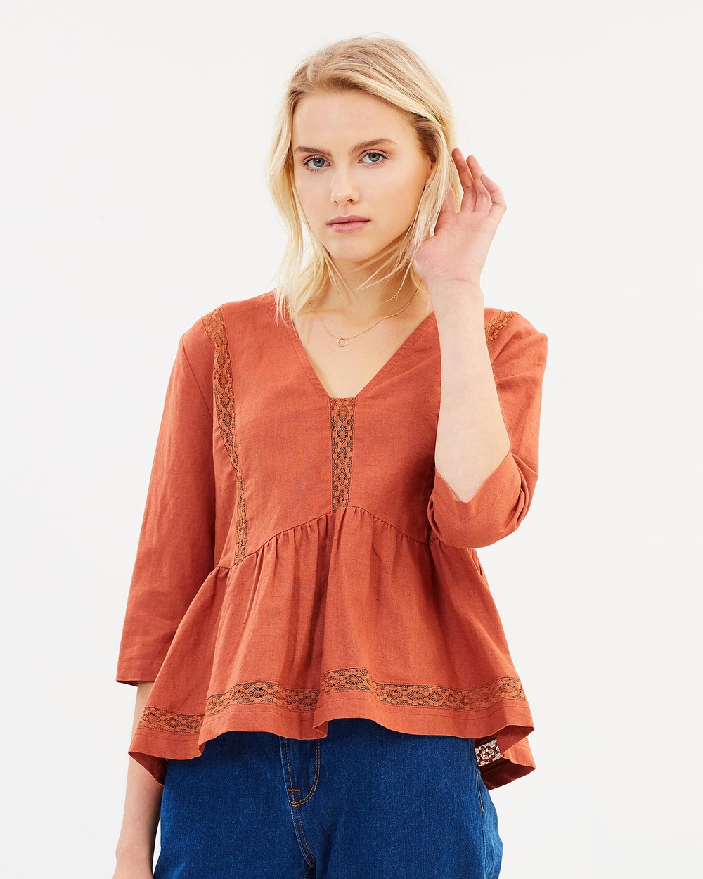 Ryder Emilia Linen Top Tops Rust Emilia Linen Top