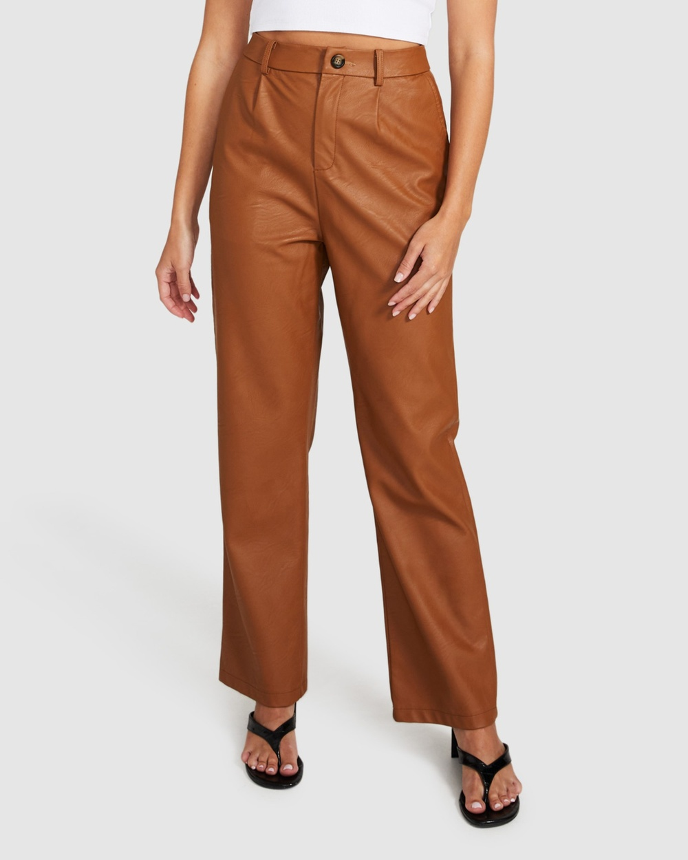 Alice In The Eve Kylie Leather Look Pants TAN