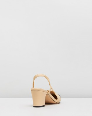 Atmos&Here Pamela Leather Heels - All Pumps (Beige & Black Lizard Embossed Leather)