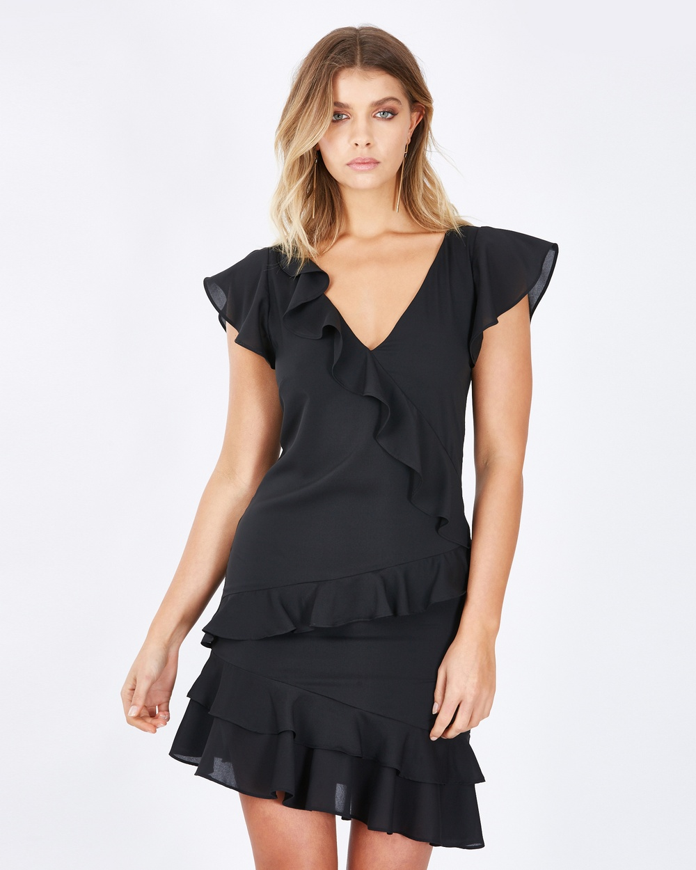 Calli Amara Mini Frill Dress Dresses Black Amara Mini Frill Dress