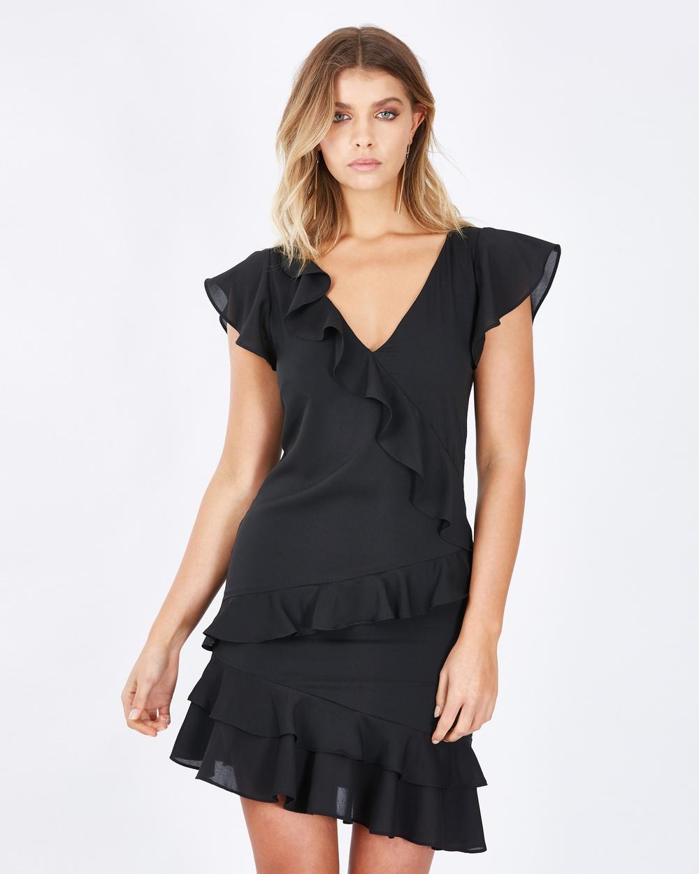 Calli Amara Mini Frill Dress Dresses Black Amara Mini Frill Dress