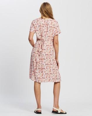 Angel Maternity Maternity Tie Waist Nursing Wrap Dress - Printed Dresses (Pink Floral Print)