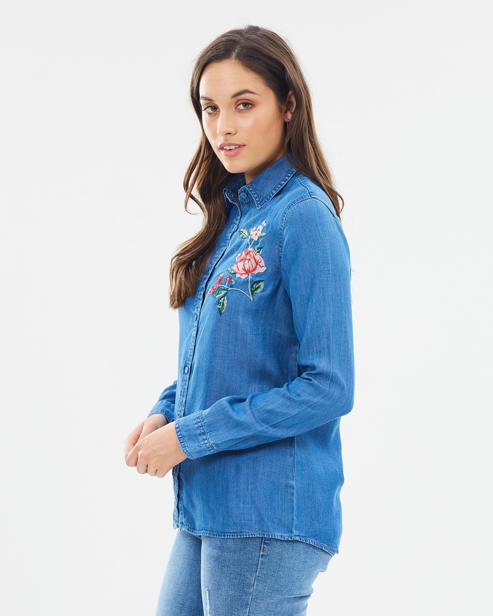 Dorothy Perkins Flower Embroidered Shirt Tops Mid Wash Denim Flower Embroidered Shirt