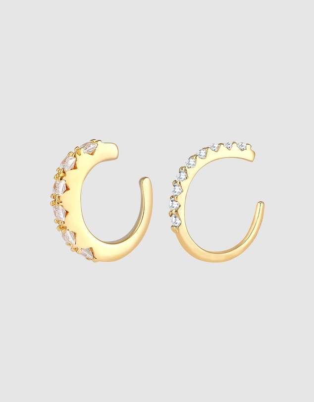 Women Earrings Single Earcuff Set of 2 with Zirconia Crystals in 925 Sterling Silver Gold Plated