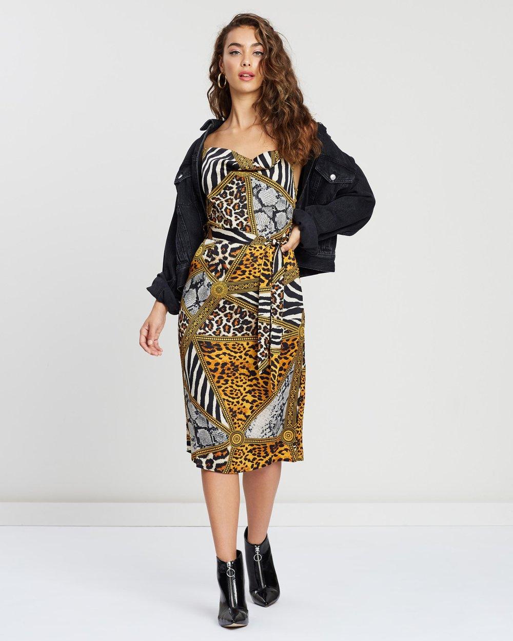 60a9539efde3 Cowl Neck Animal Print Satin Midi Dress by Missguided Online   THE ICONIC    Australia