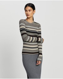 Theory - Stripe Crew-Neck Knit