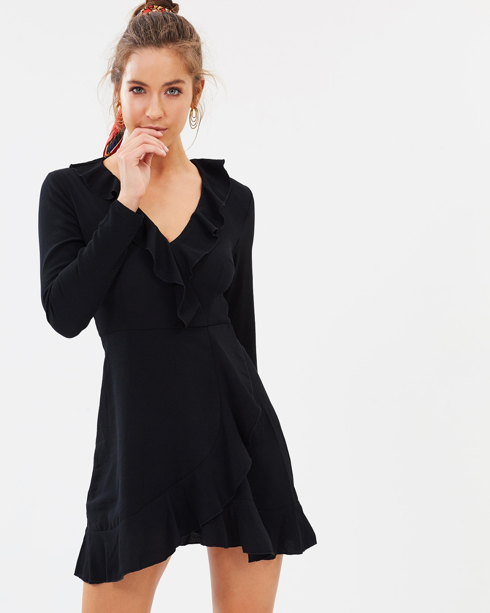 Missguided LS Ruffle Tea Dress Dresses Black LS Ruffle Tea Dress