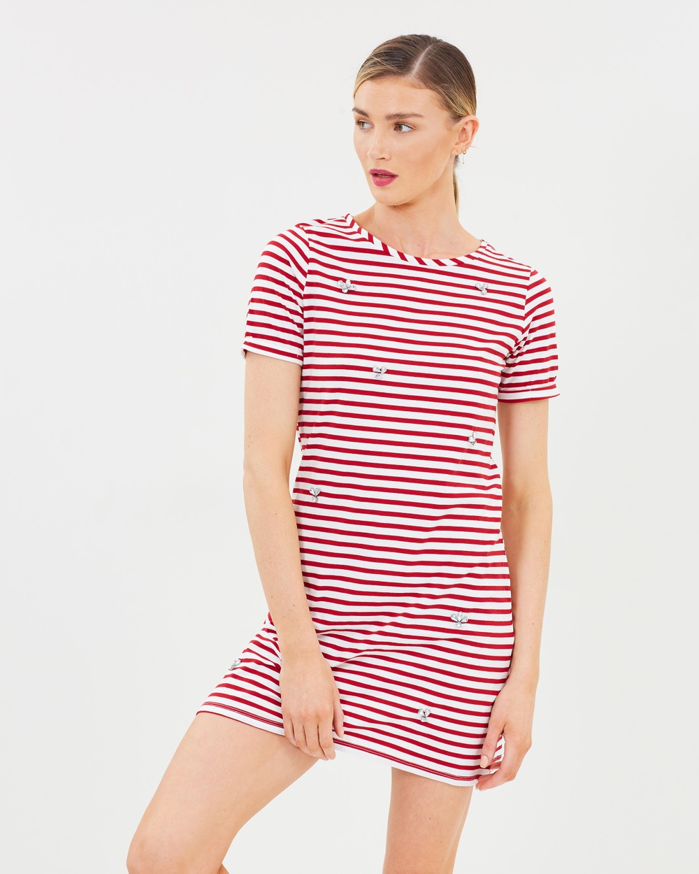 Dorothy Perkins Stripe Embellished Shift Dress Dresses Red Stripe Embellished Shift Dress