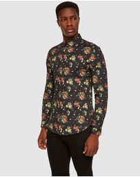 Topman - Floral Snake Print Muscle Long Sleeve Shirt