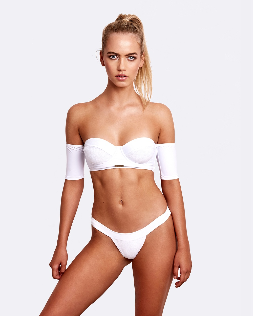 ZINGIBER Santorini Brazilian Cut Briefs Bikini Bottoms White Santorini Brazilian Cut Briefs