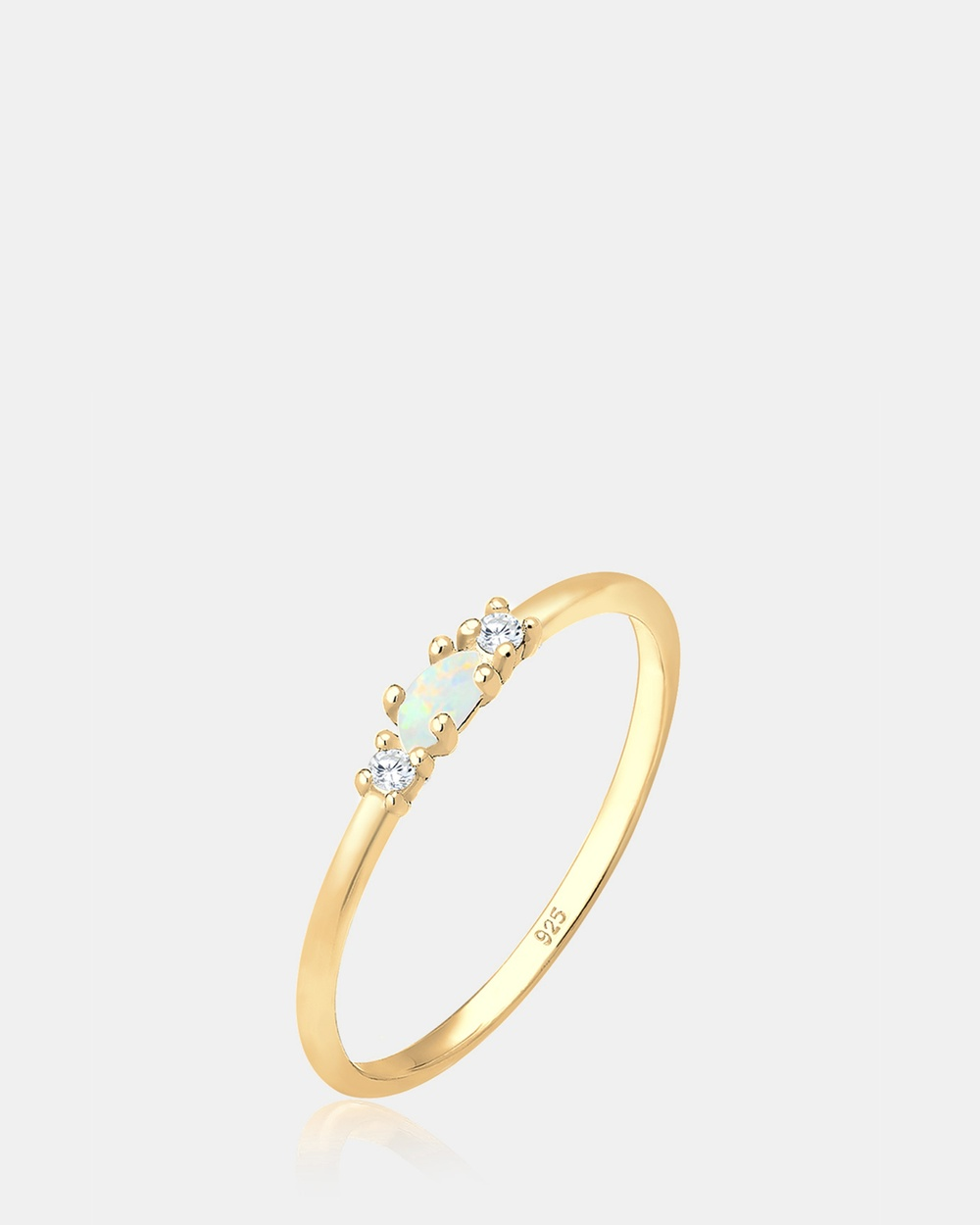 Elli Jewelry Ring Round Circle Love Geo Blogger Opal 925 Silver Gold Plated Jewellery Gold