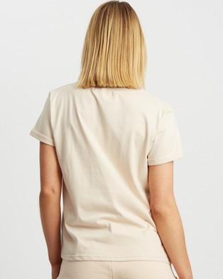 Calli Outline Basic Tee - T-Shirts & Singlets (Tan & White Logo)