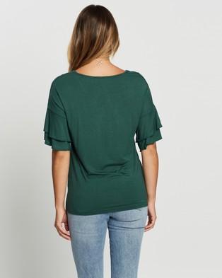Atmos&Here Demi Flutter Sleeve Top - T-Shirts & Singlets (Green)