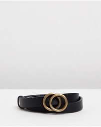 Atmos&Here - Lucia Black & Gold Thin Belt