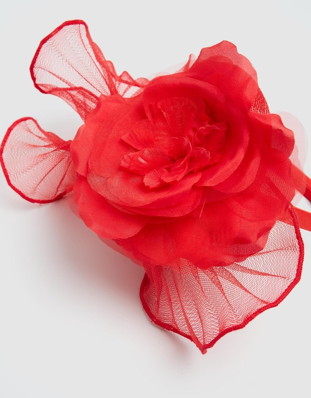 Women Tall Fascinator with Rose Flower