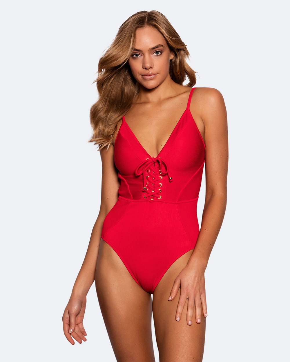Bras N Things Ribb Lace Up One Piece One-Piece / Swimsuit Red Ribb Lace Up One Piece