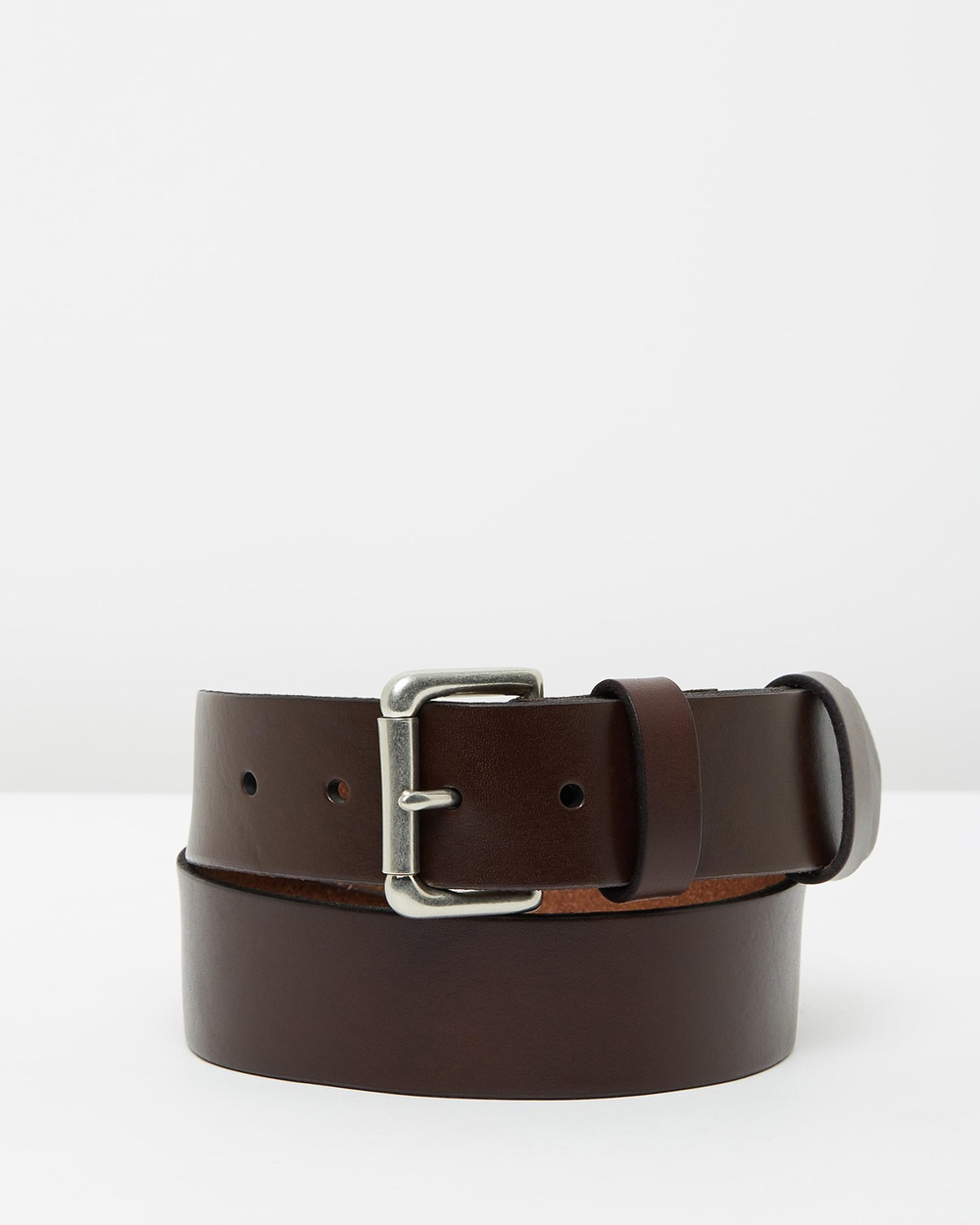 Polo Ralph Lauren Roller Buckle Leather Belt with Logo Patch Belts Brown