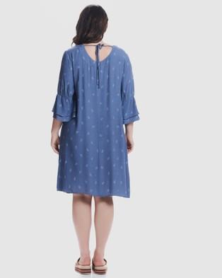 Advocado Plus Indigo Frill Dress - Printed Dresses (Indigo)