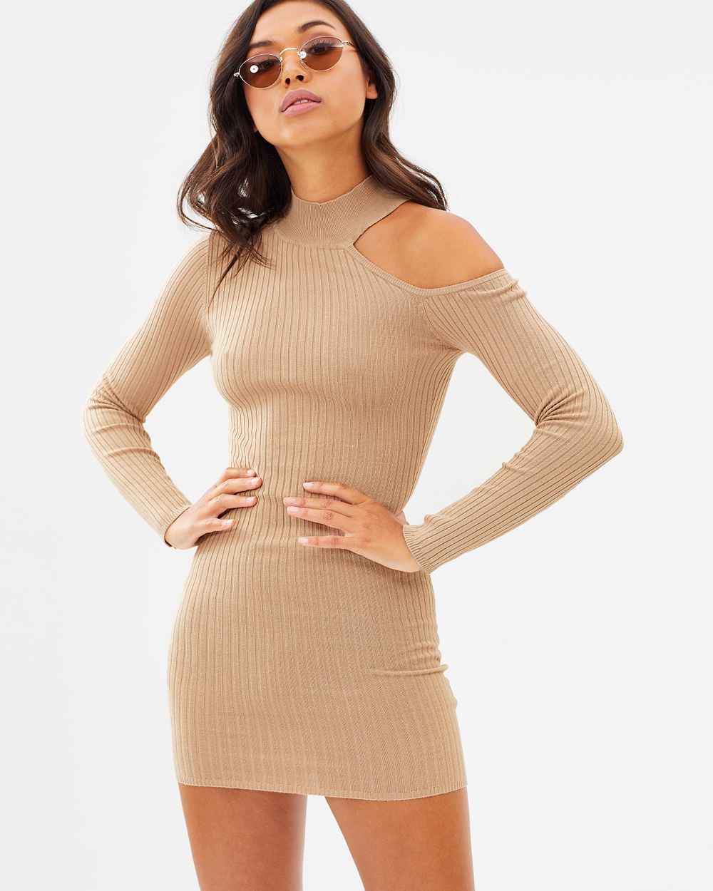 Missguided Cut Away Knitted Body Con Dress Bodycon Dresses Camel Cut-Away Knitted Body-Con Dress