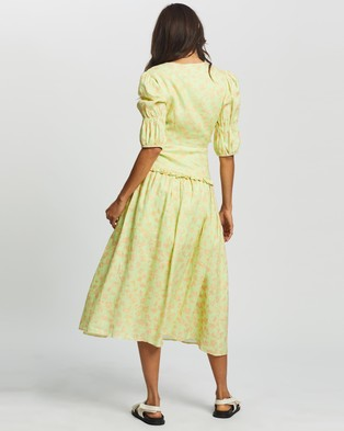 AERE Frill Printed Midi Dress - Printed Dresses (Lime Floral)