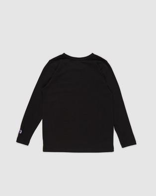 Champion - Script Long Sleeve Tee   Kids Teens - Long Sleeve T-Shirts (Black) Script Long Sleeve Tee - Kids-Teens