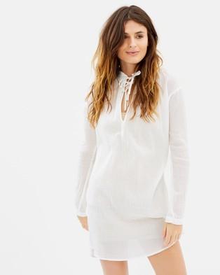 Maison Scotch – Home Alone Cotton Voile Shirt Dress Denim White