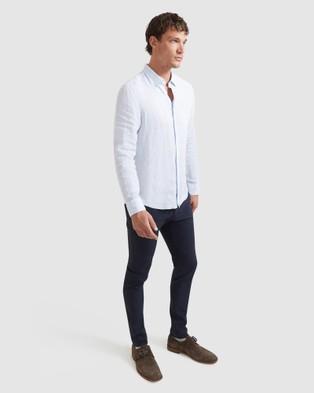 SABA - Anderson Long Sleeve Classic Yarn Dyed Linen Shirt Casual shirts (blue)
