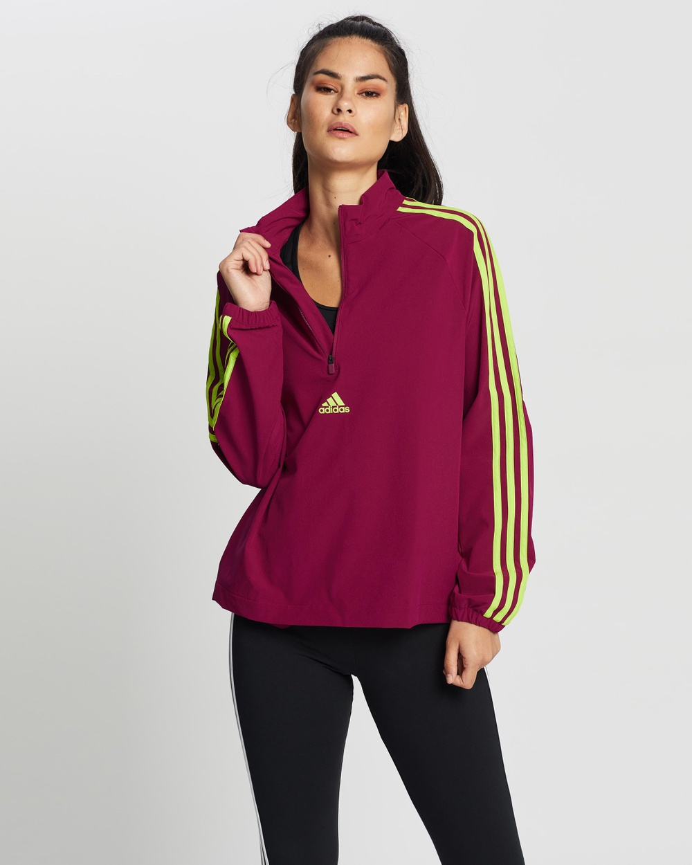 adidas Performance 3 Stripes Cover Up Jacket Sweats Power Berry & Semi Solar Slime 3-Stripes Cover-Up