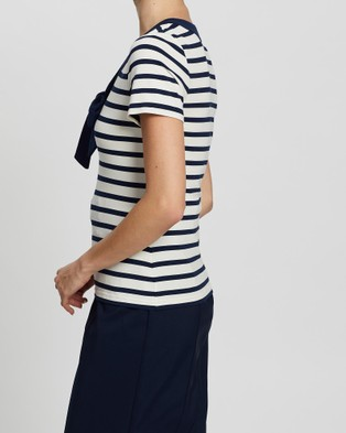 Review Suzie Stripe Top - T-Shirts & Singlets (Navy & Cream)