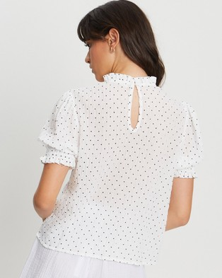 The Fated Laney Blouse - Tops (White Based Spot)