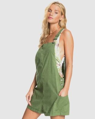 Roxy Womens Low Rising Linen Dungaree Short - Jumpsuits & Playsuits (VINEYARD GREEN)