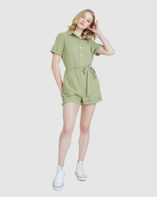 Subtitled Emery Cotton Twill Playsuit Military - Jumpsuits & Playsuits (GREEN)