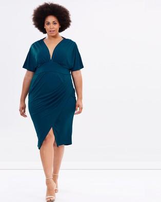 Atmos & Here Curvy – Chance Encounter Jersey Drape Dress – Bodycon Dresses (Teal)