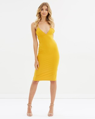 Toby Heart Ginger – Sophia Midi Dress – Bodycon Dresses Mustard