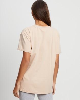 Calli - Oversized C Tee - T-Shirts & Singlets (Tan & White Embroidery) Oversized C Tee