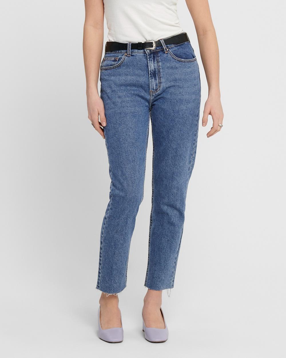 ONLY Emily High Waisted Straight Raw Jeans Crop Dark Blue Denim High-Waisted Australia