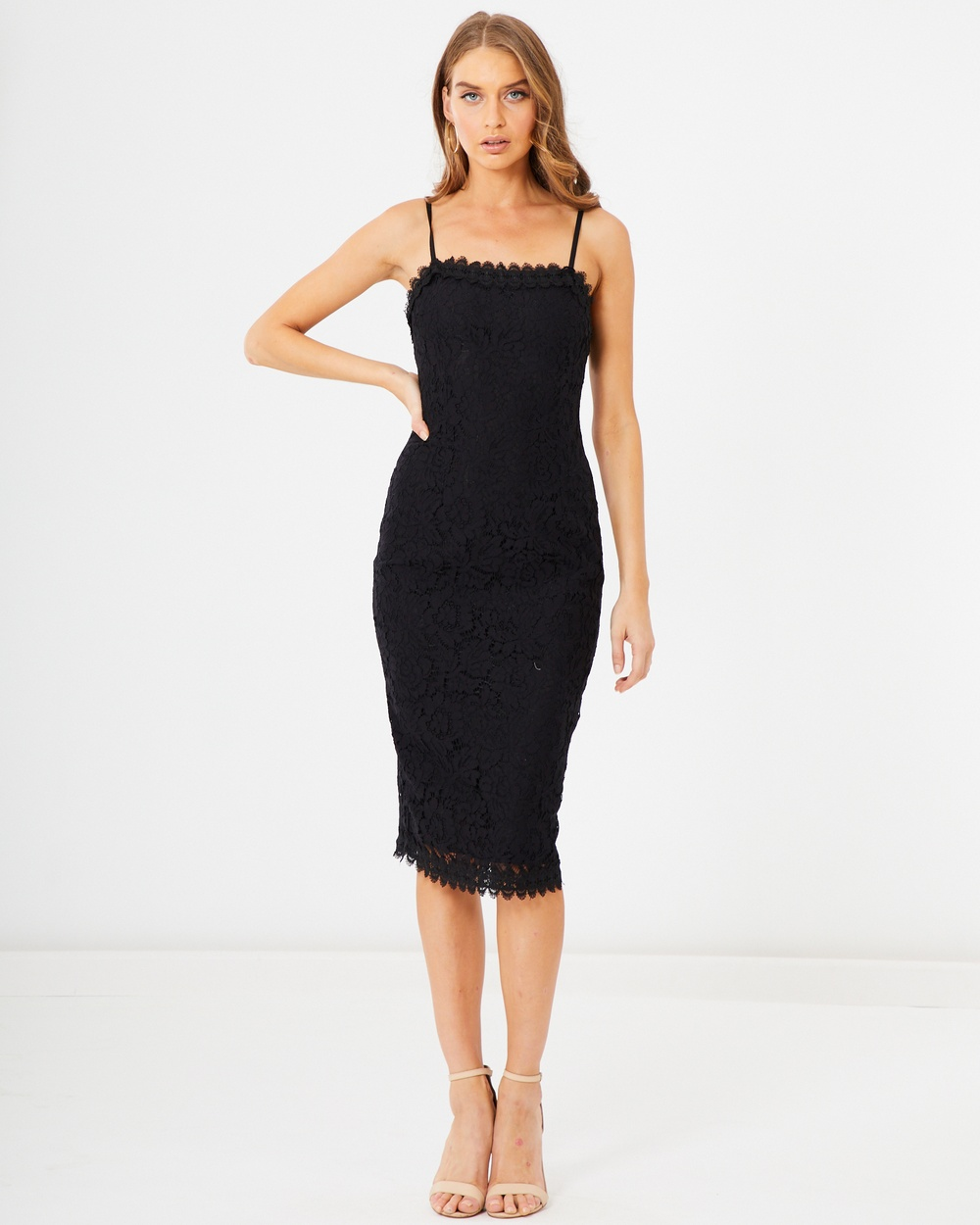 Tussah Black Lace Rachelle Midi Dress
