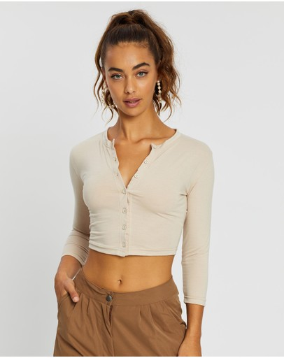 Missguided Button Front Long Sleeve Crop Top Sand