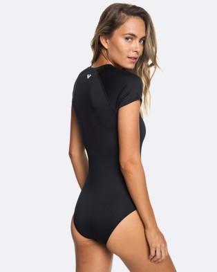 Roxy Womens Essentials UPF 50 Short Sleeve Front Zip Onesie - One-Piece / Swimsuit (True Black)