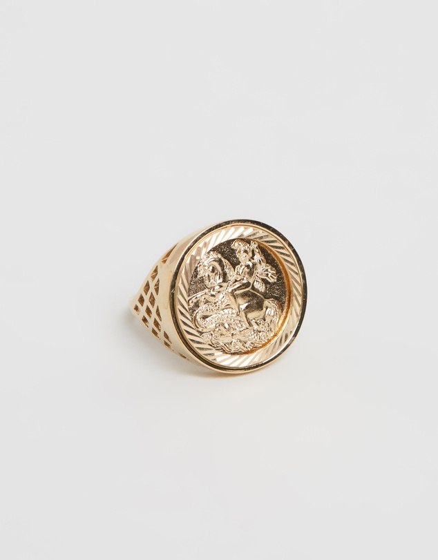 Sterling Silver Old English Sovereign Ring by Chained & Able