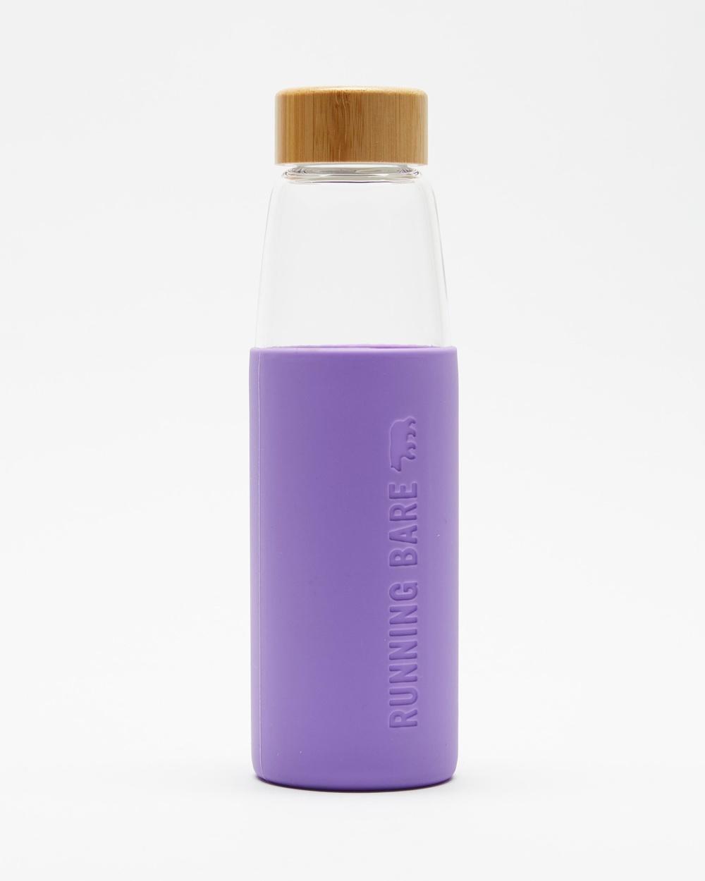Running Bare Earth Bear Eco Glass Bottle Glass & Purple