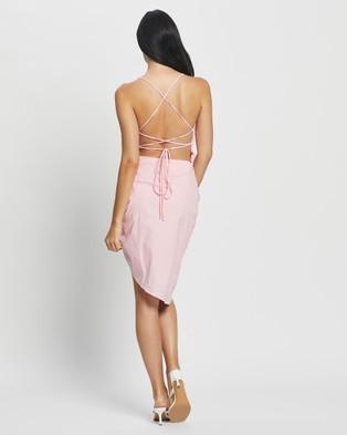 Glamorous Ruched Tie Back Midi Dress - Dresses (pink)