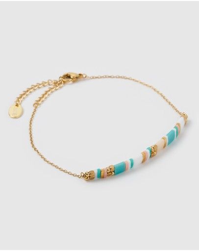 Arms Of Eve Aventura Gold & Beaded Bracelet Turquoise