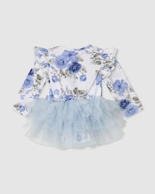 Designer Kidz - Audrey Floral L S Tutu Romper Rompers (Blue) L-S