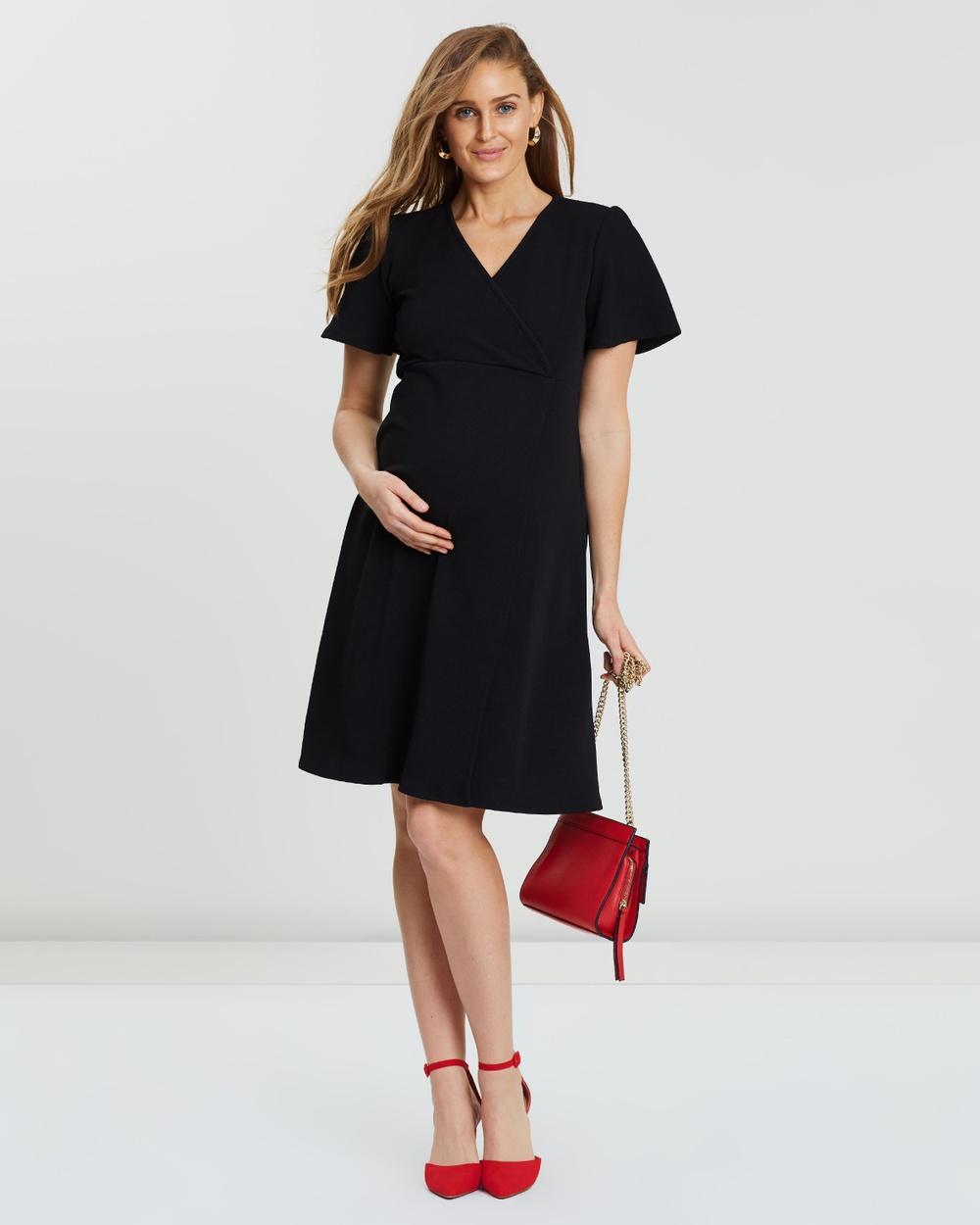 DP Maternity Black Crepe Wrap Dress