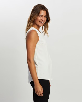 Atmos&Here Button Front Sleeveless Top - Tops (White)