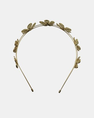 Olga Berg April Daisy Metal Headband - Hair Accessories (Gold)