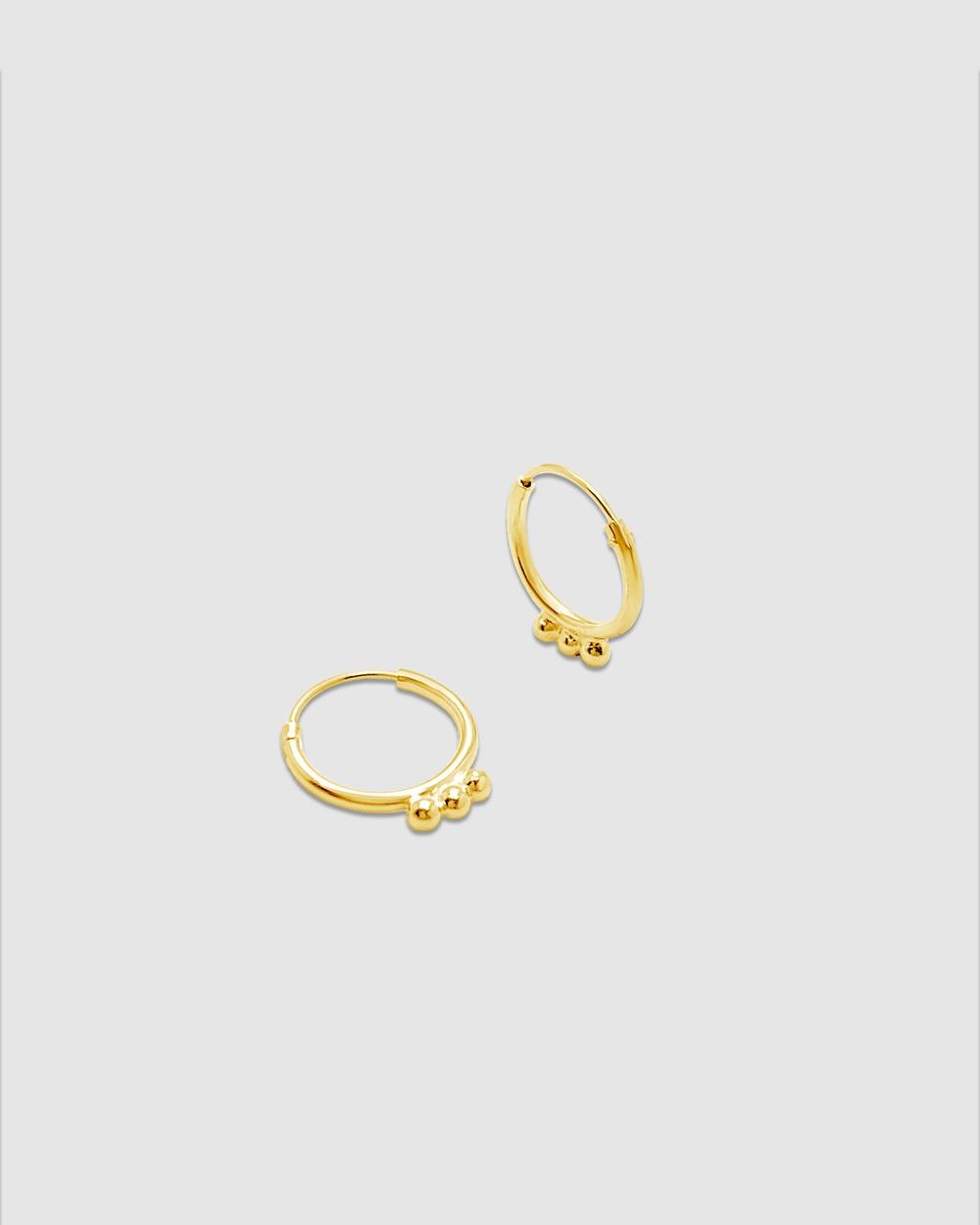 Ichu Detailed Sleepers, Gold Jewellery Gold